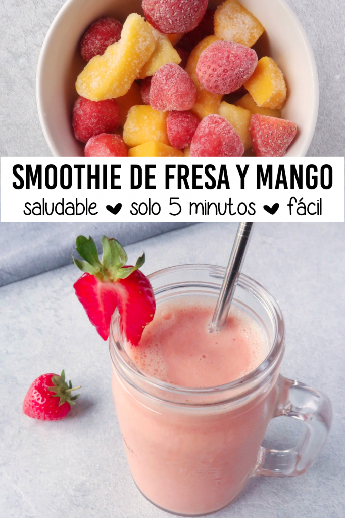 Smoothie de fresa y mango. Saludable, solo 5 minutos, fácil.